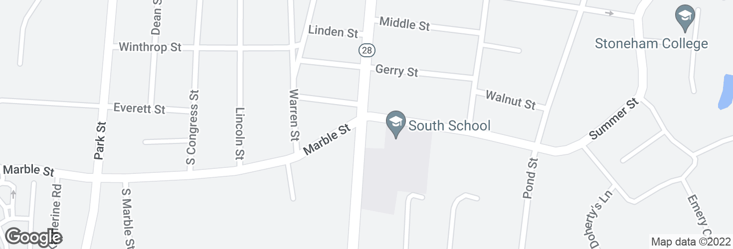 Map of Main St @ Summer St and surrounding area