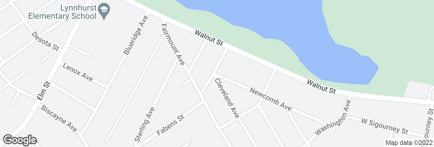 Map of Newcomb Ave @ Edison St and surrounding area