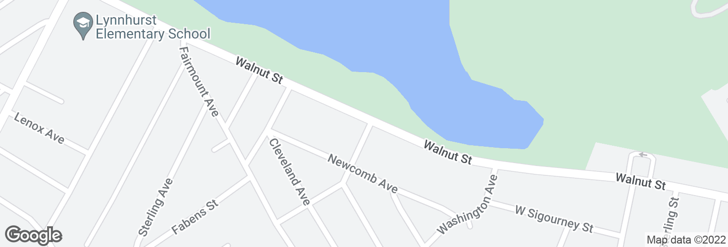 Map of Walnut St @ Jefferson Ave and surrounding area