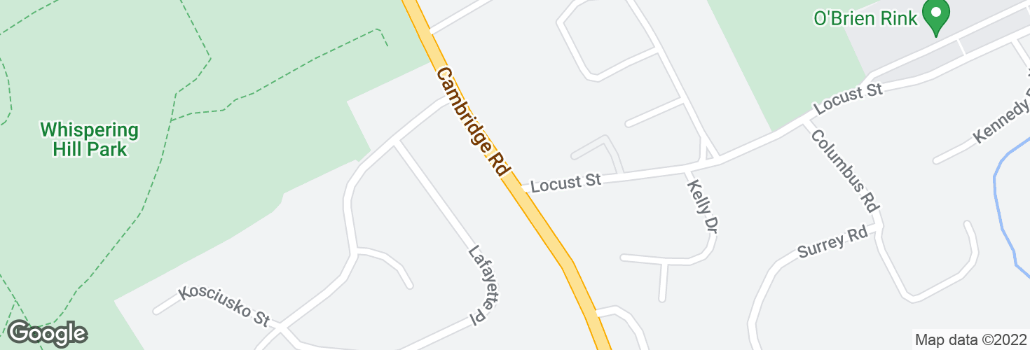 Map of Cambridge Rd @ Locust St and surrounding area
