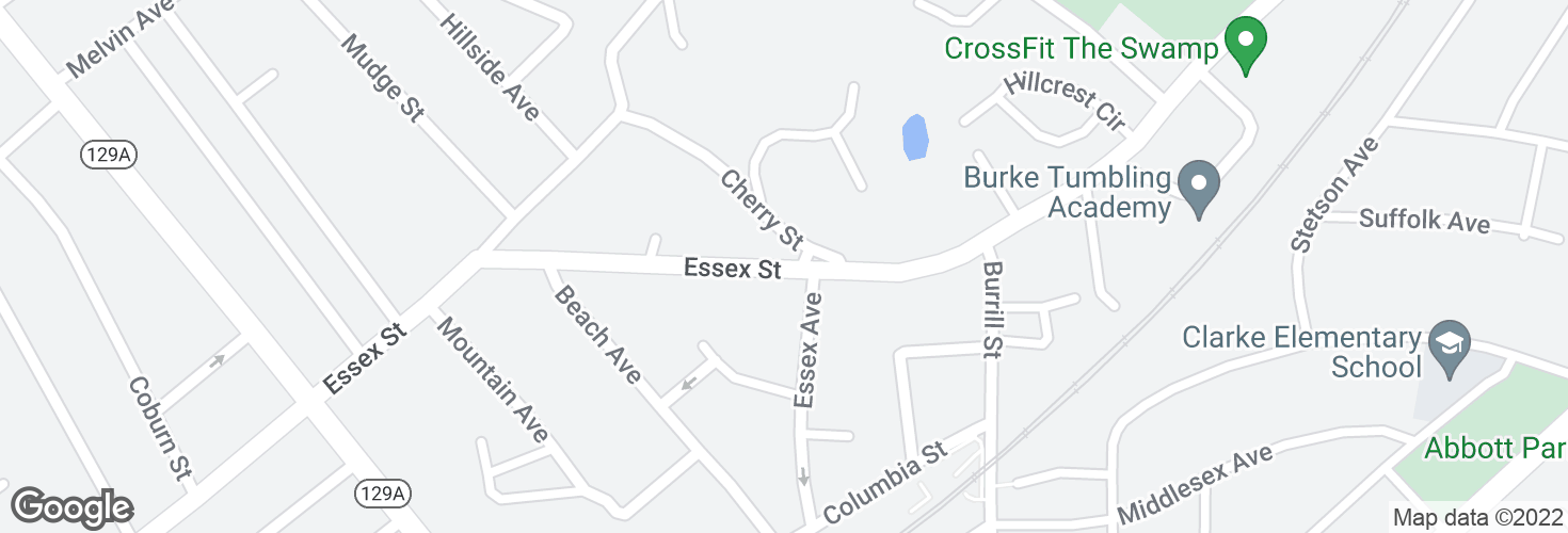Map of Essex St @ Cherry St and surrounding area