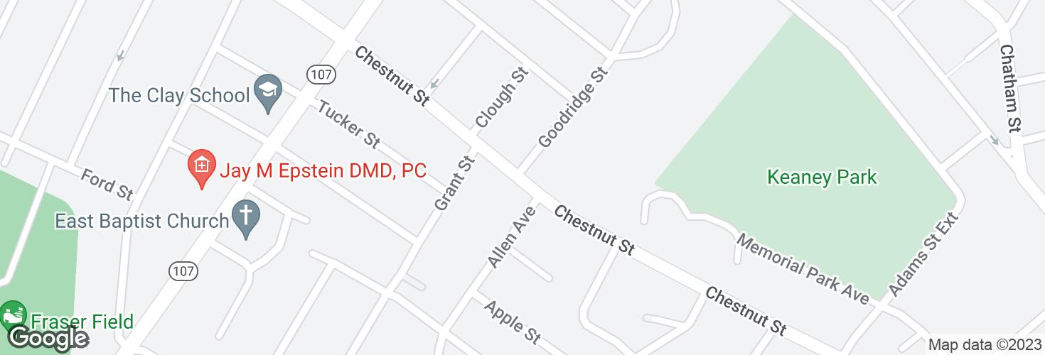 Map of Chestnut St @ Goodridge St and surrounding area