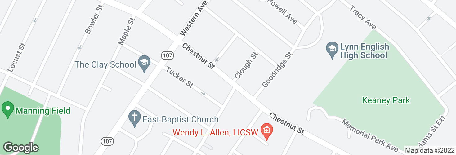 Map of Chestnut St @ Clough St and surrounding area