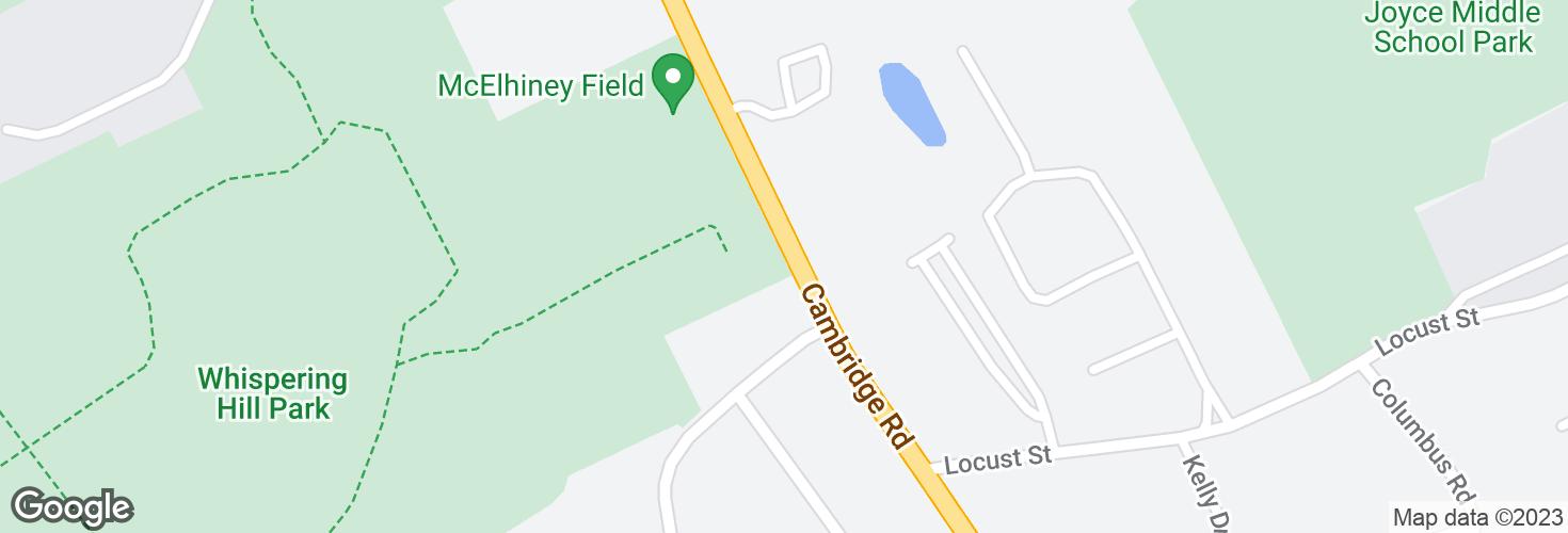 Map of Cambridge Rd @ Sylvanus Wood Ln and surrounding area