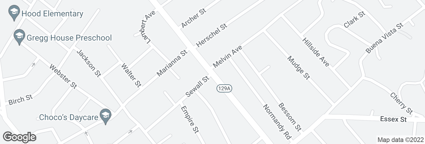 Map of Eastern Ave @ Melvin Ave and surrounding area