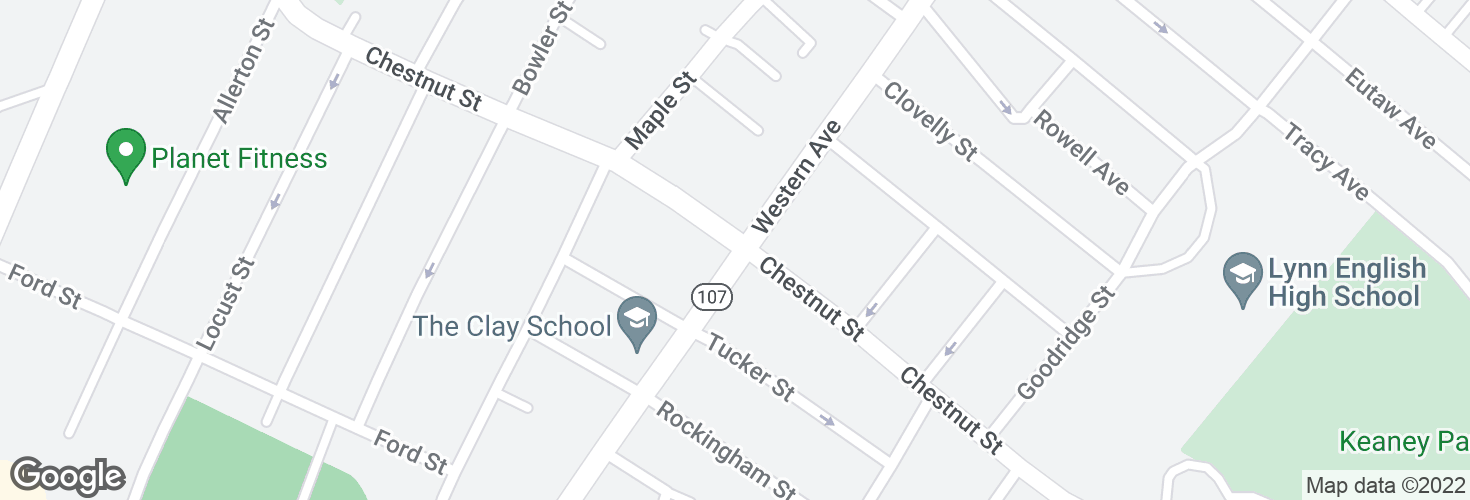 Map of Chestnut St @ Western Ave and surrounding area