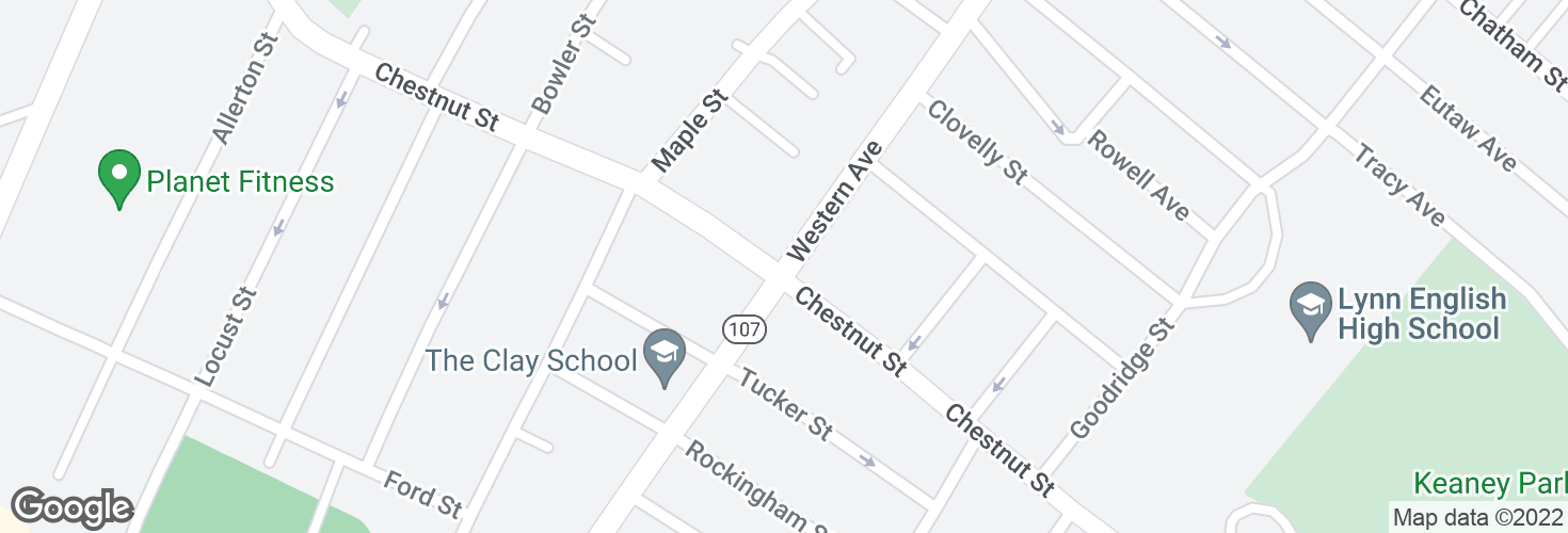 Map of Western Ave @ Chestnut St and surrounding area