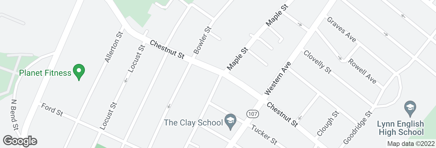 Map of Chestnut St @ Maple Street and surrounding area