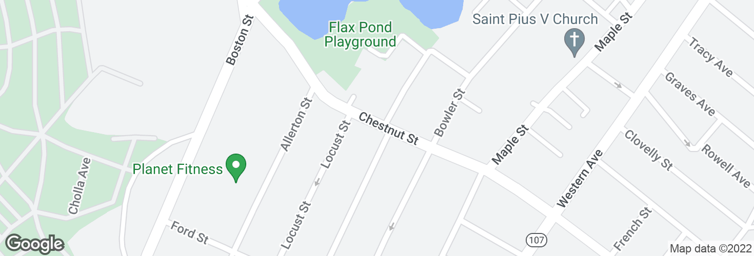 Map of Chestnut St opp Pond St and surrounding area