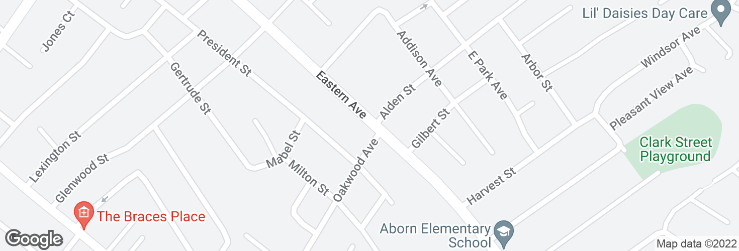Map of Eastern Ave @ Oakwood Ave and surrounding area