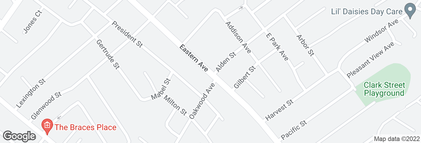 Map of Eastern Ave @ Alden St and surrounding area
