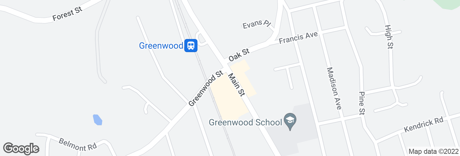 Map of Main St @ Greenwood Plaza and surrounding area