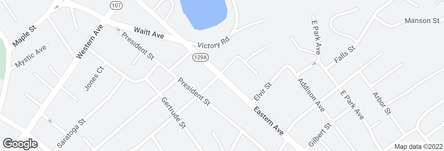 Map of Eastern Ave @ Glenwood St and surrounding area