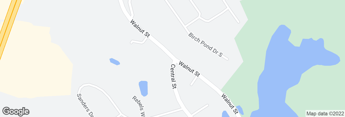 Map of Walnut St @ Central St and surrounding area
