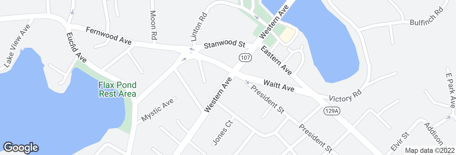 Map of Western Ave @ Maple St and surrounding area