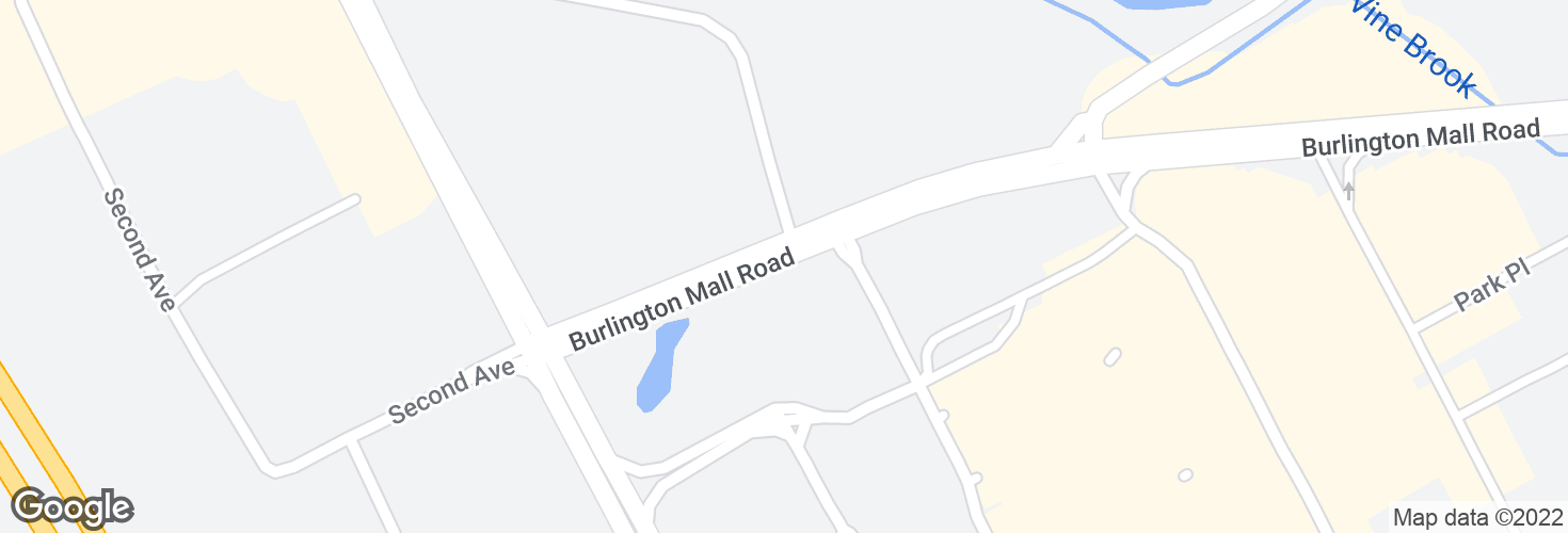 Map of Burlington Mall Rd opp Meadow Rd and surrounding area