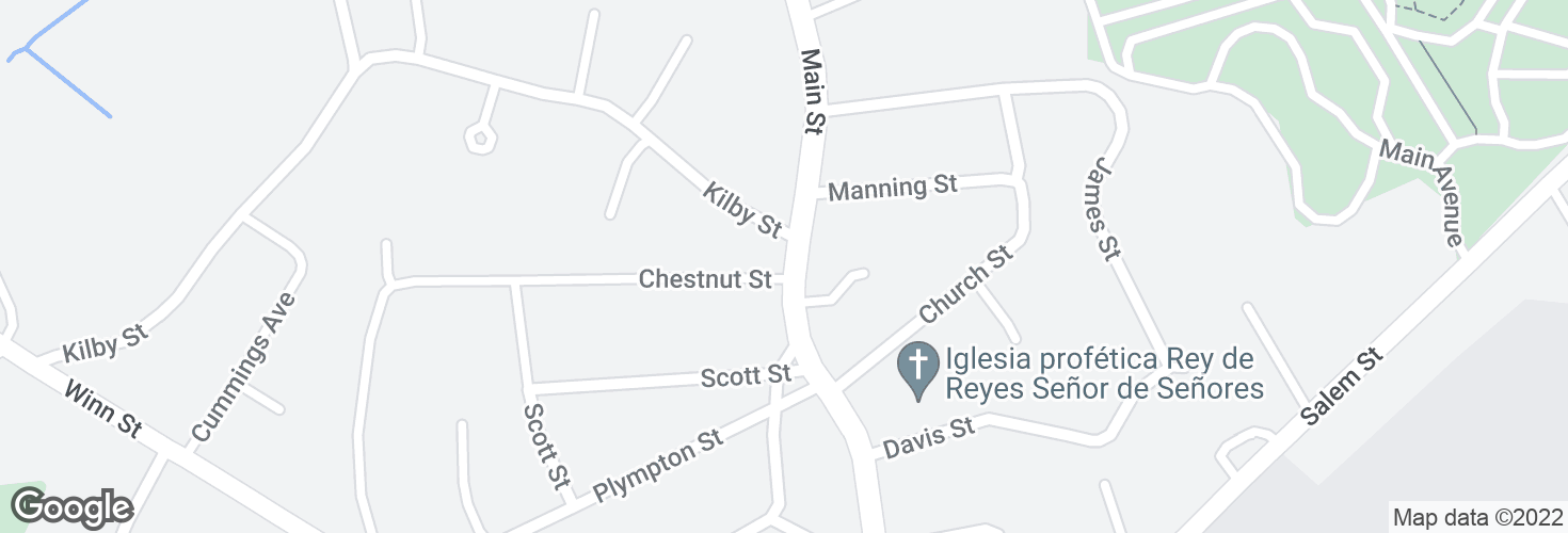 Map of Main St @ Kilby St and surrounding area