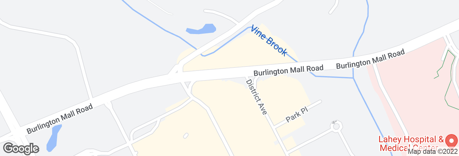 Map of Burlington Mall Rd @ NE Executive Pk and surrounding area