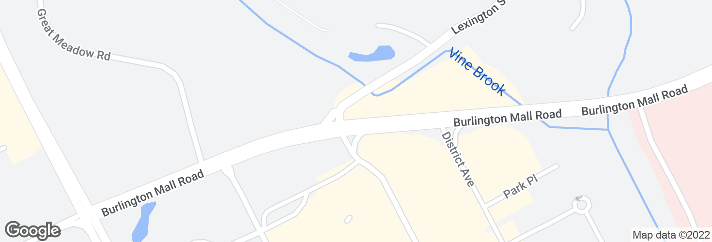 Map of Burlington Mall Rd @ Lexington St and surrounding area