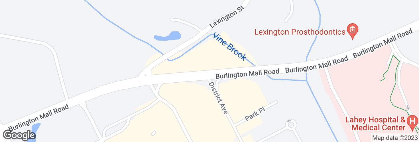 Map of Burlington Mall Rd opp NE Executive Pk and surrounding area