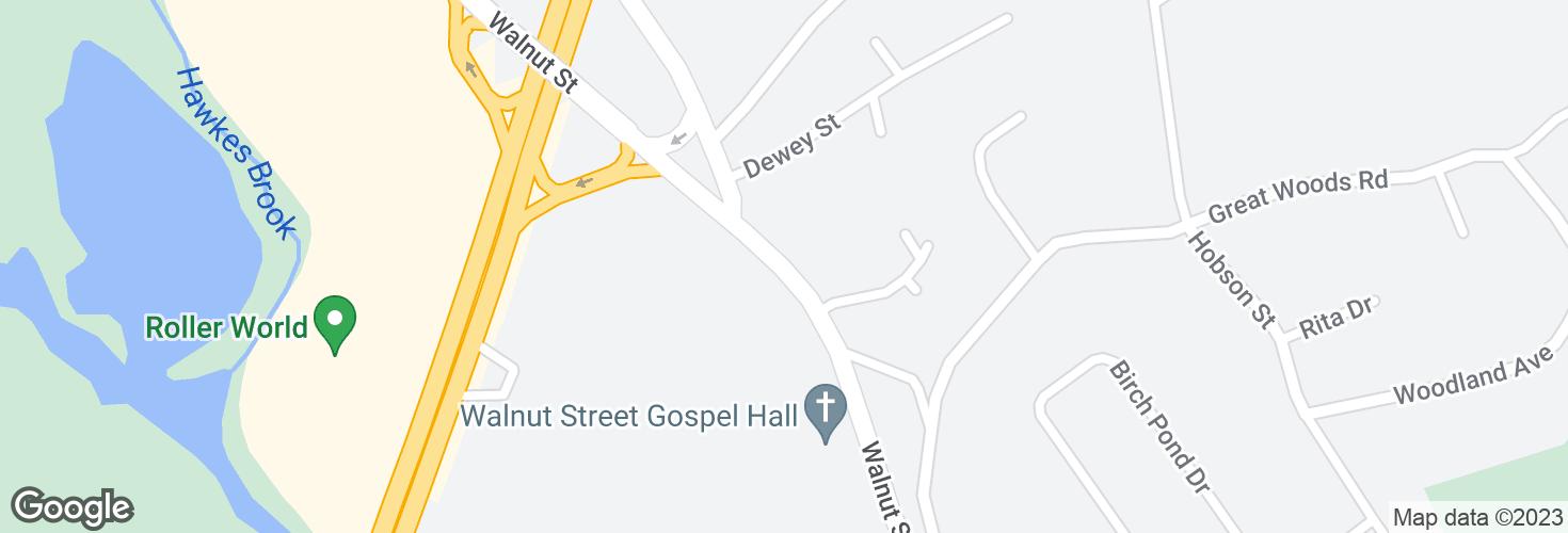 Map of Walnut St @ Walnut Pl and surrounding area