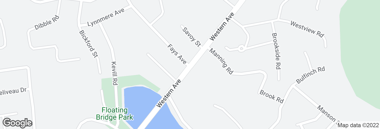 Map of Western Ave @ Fays Ave and surrounding area