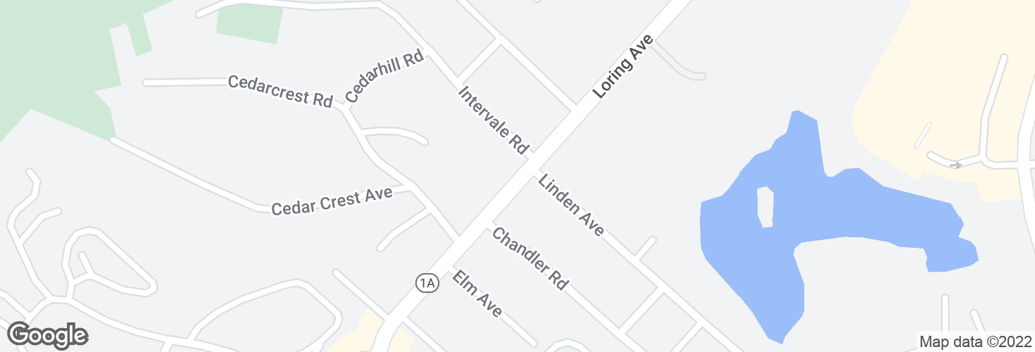 Map of Loring Ave @ Intervale Rd and surrounding area