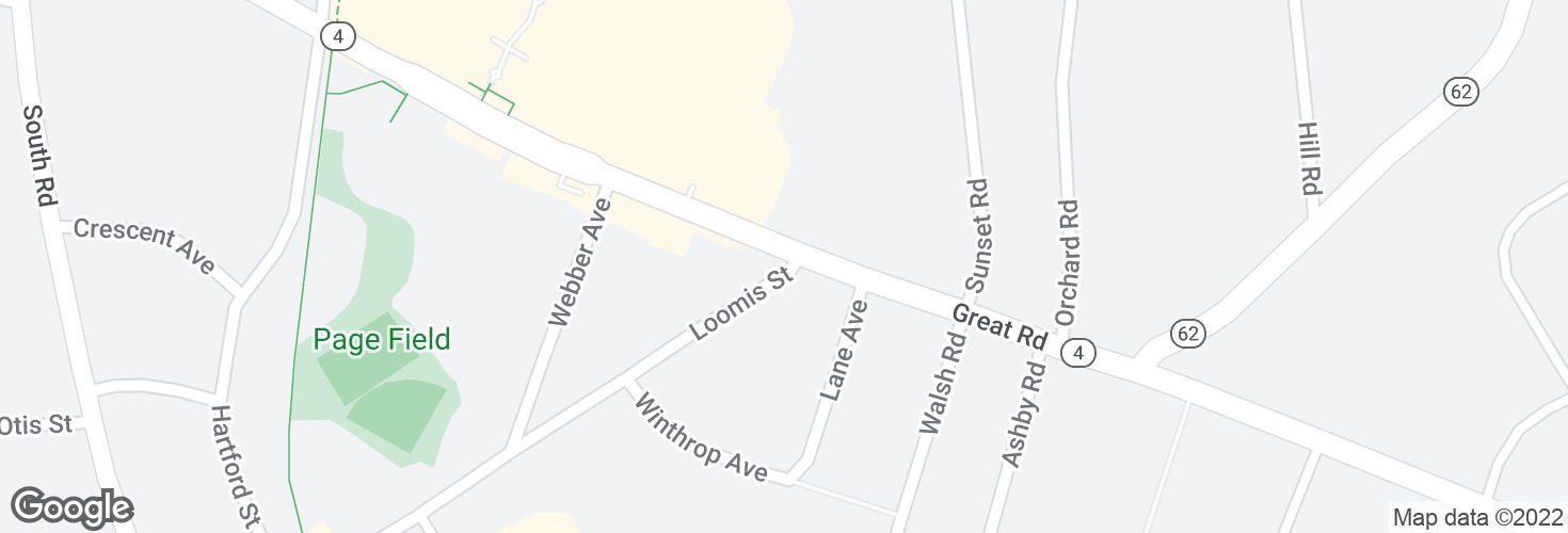 Map of Loomis St @ Great Rd and surrounding area