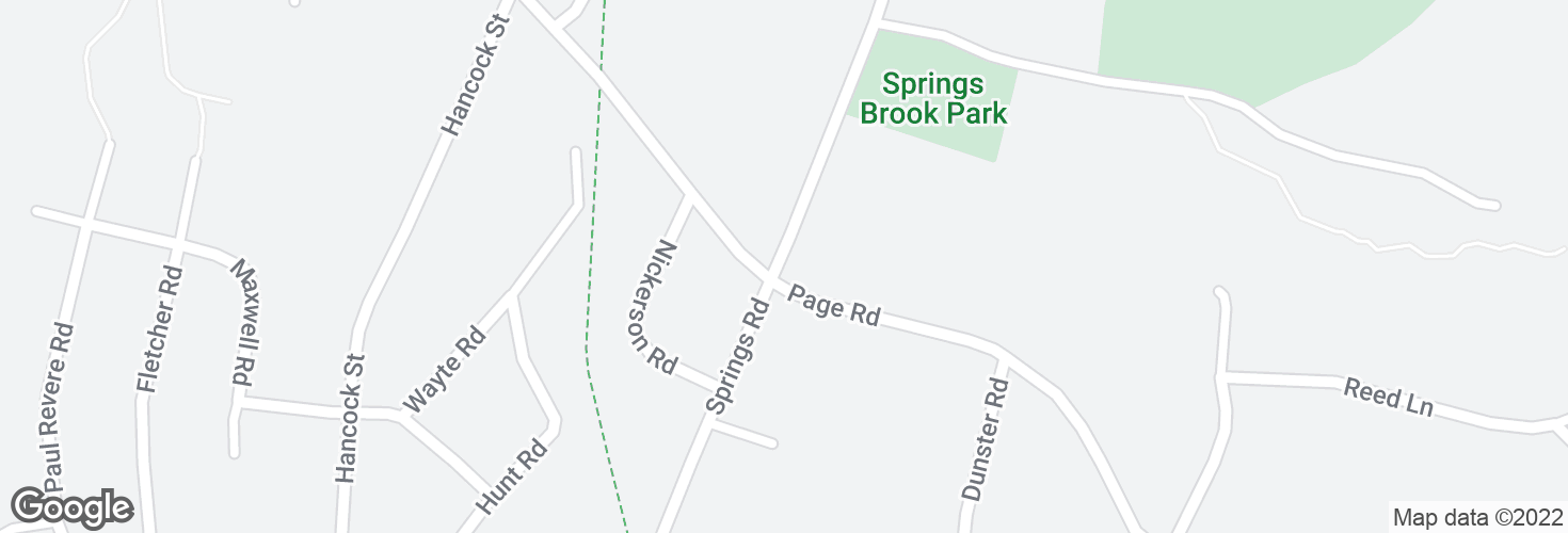 Map of Springs Rd @ Pine Hill Rd and surrounding area