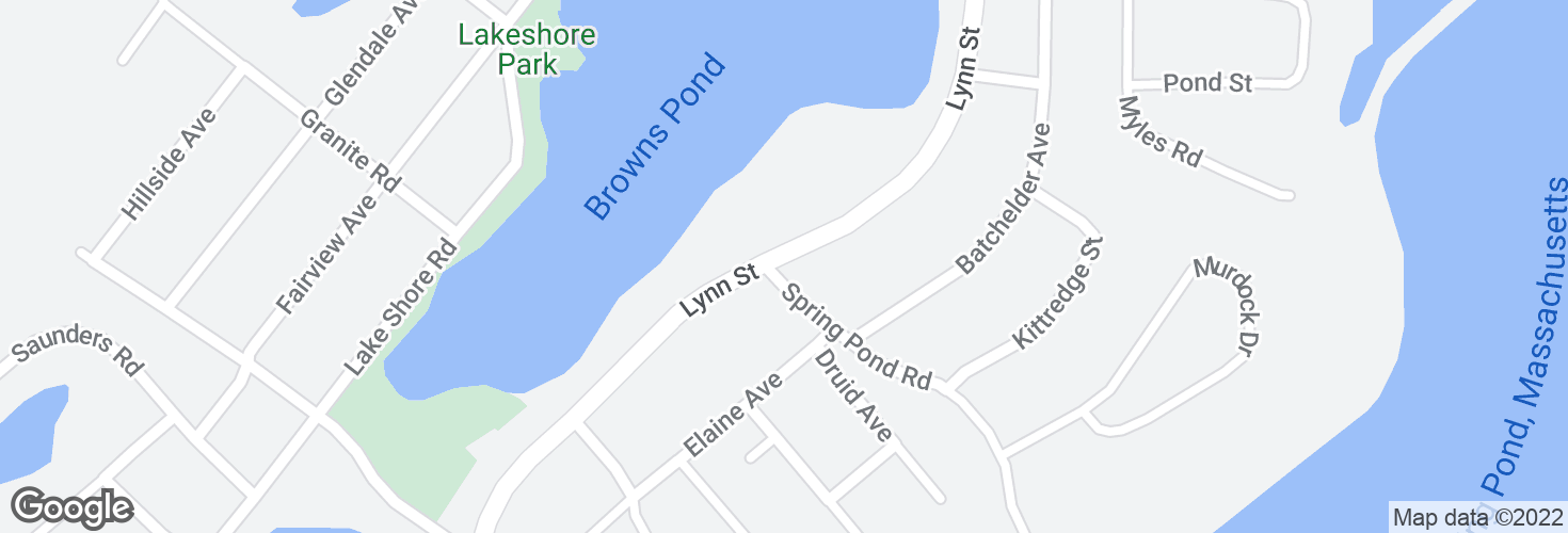 Map of Lynn St @ Spring Pond Rd and surrounding area