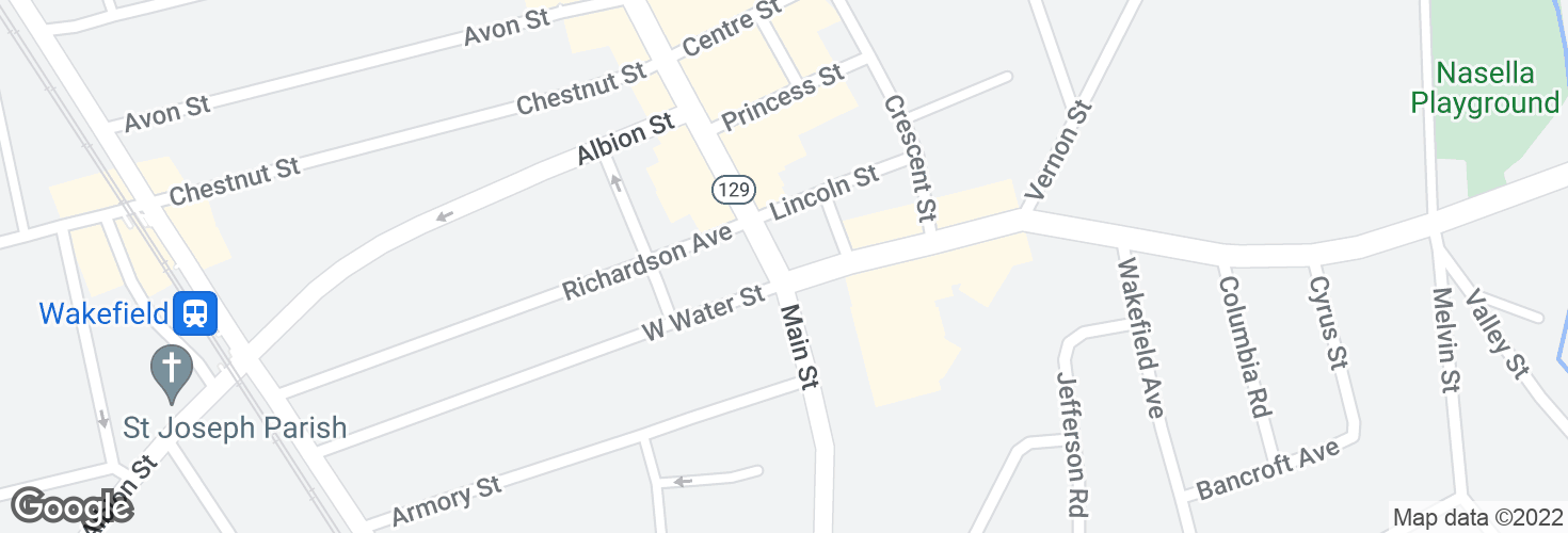 Map of Main St @ Water St and surrounding area