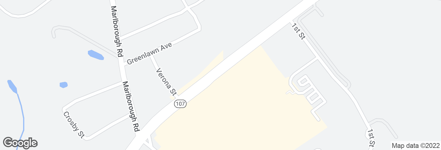 Map of Highland Ave @ Hawthorne Sq and surrounding area
