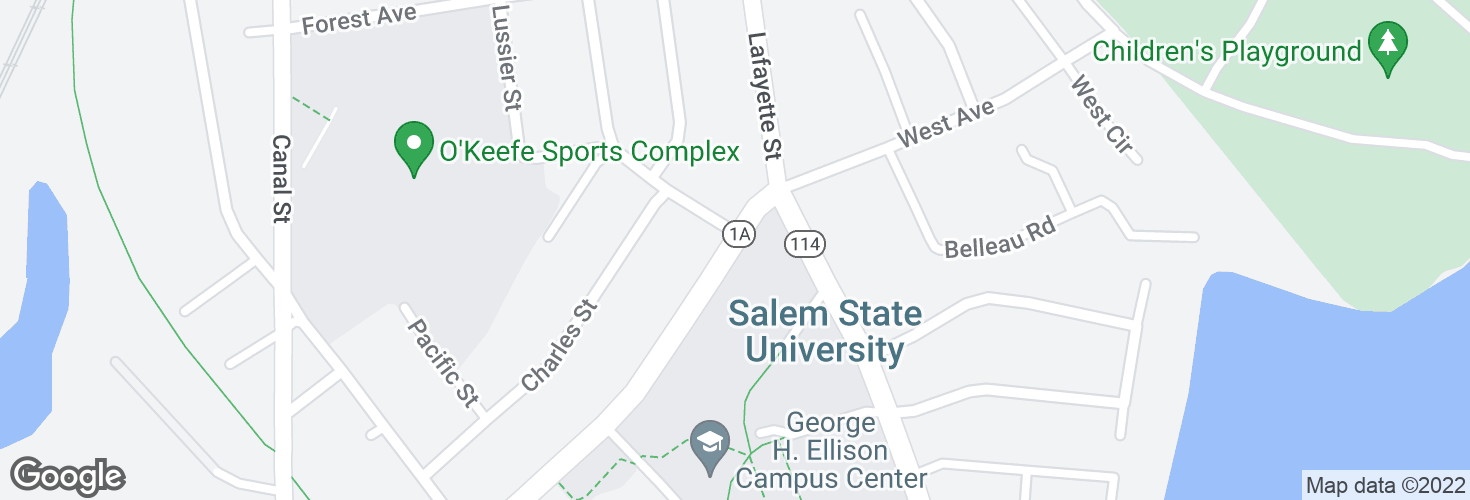 Map of Loring Ave @ Salem State University and surrounding area
