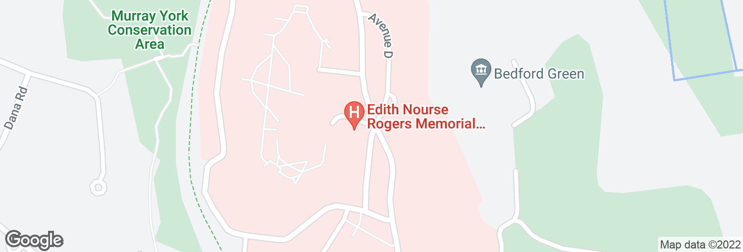 Map of Bedford VA Hospital @ Middlesex CC - Bldg 10 and surrounding area