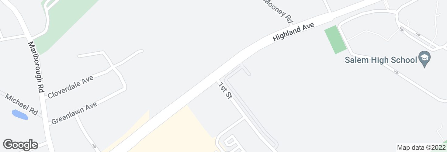 Map of Highland Ave @ First St and surrounding area