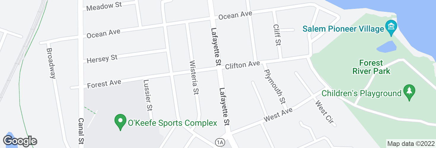 Map of Lafayette St @ Forest Ave and surrounding area