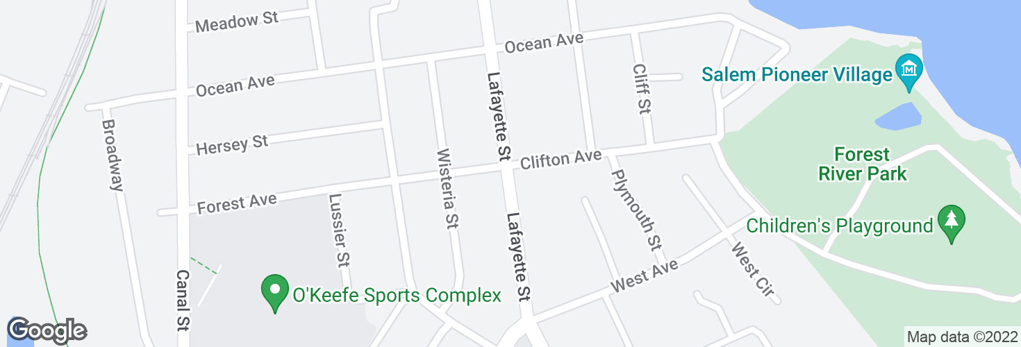 Map of Lafayette St @ Clifton Ave and surrounding area