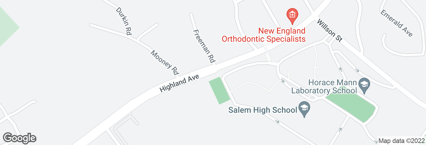 Map of Highland Ave opp Freeman Rd and surrounding area