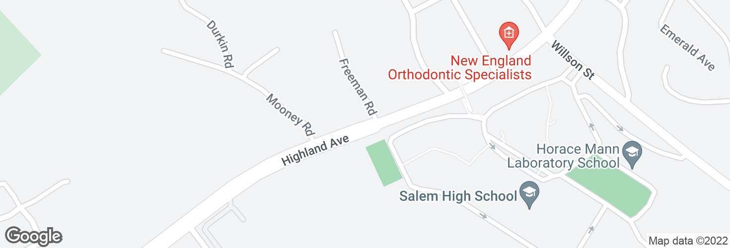 Map of Highland Ave @ Freeman Rd and surrounding area