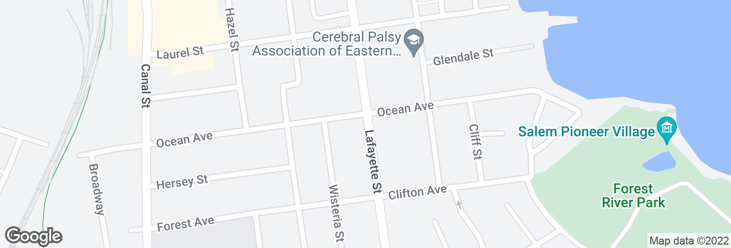 Map of Lafayette St @ Ocean Ave and surrounding area