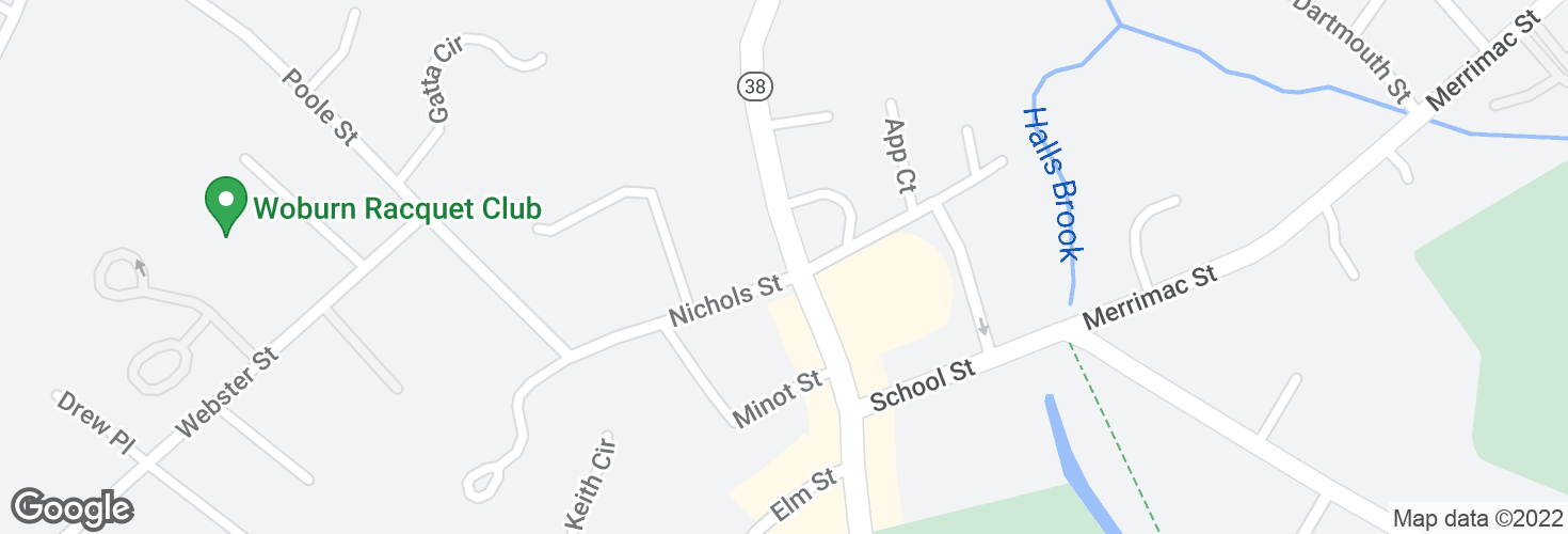 Map of Main St @ Nichols St and surrounding area