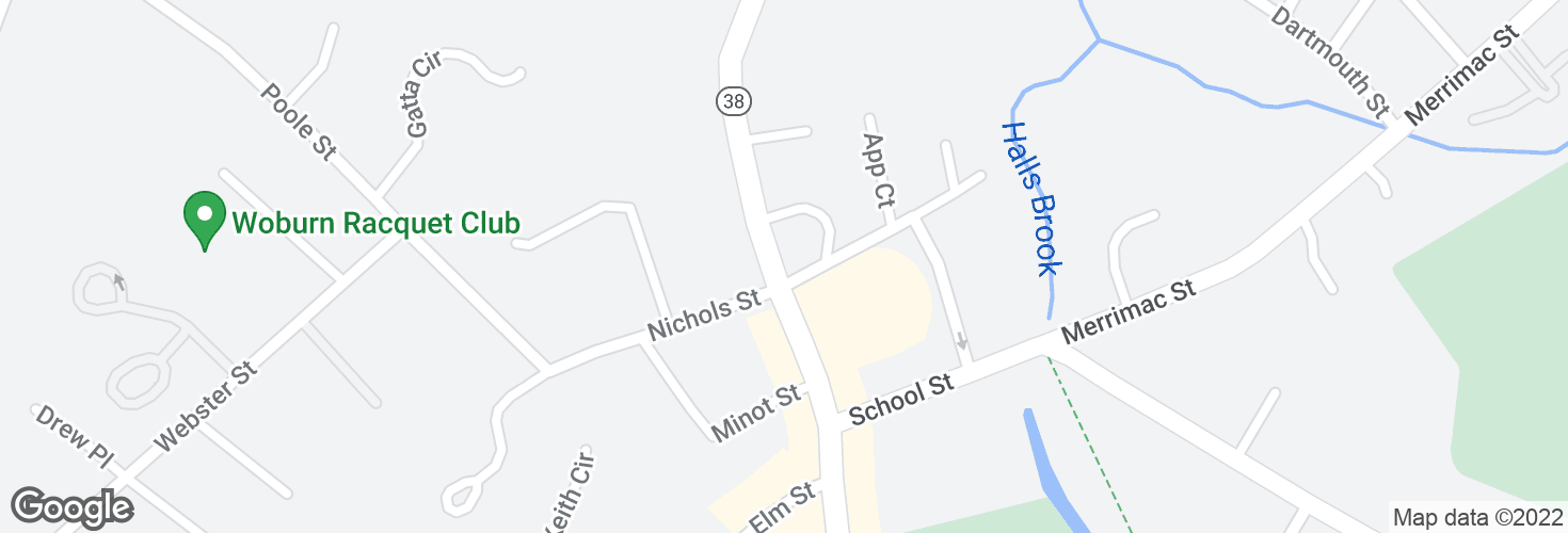Map of Main St @ East Nichols St and surrounding area