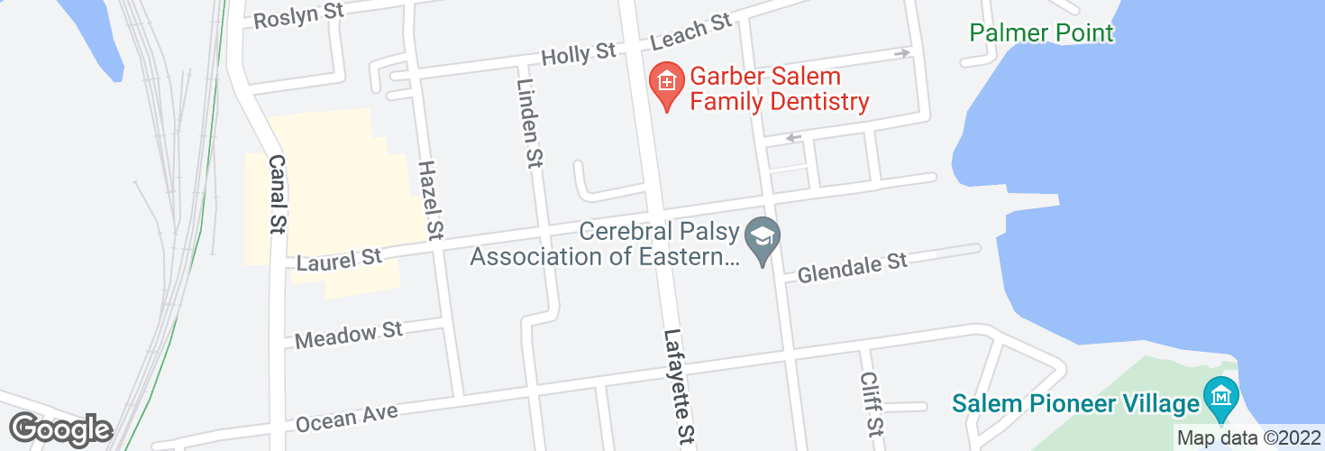 Map of Lafayette St @ Willow Ave and surrounding area