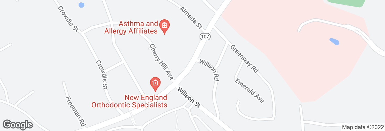 Map of Highland Ave @ Wilson St and surrounding area