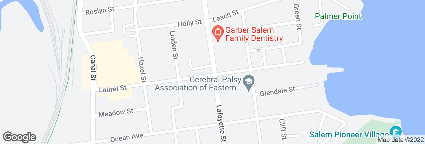 Map of Lafayette St @ Laurel St and surrounding area