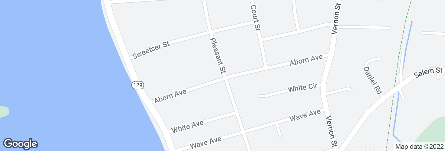 Map of Pleasant St @ Aborn Ave and surrounding area