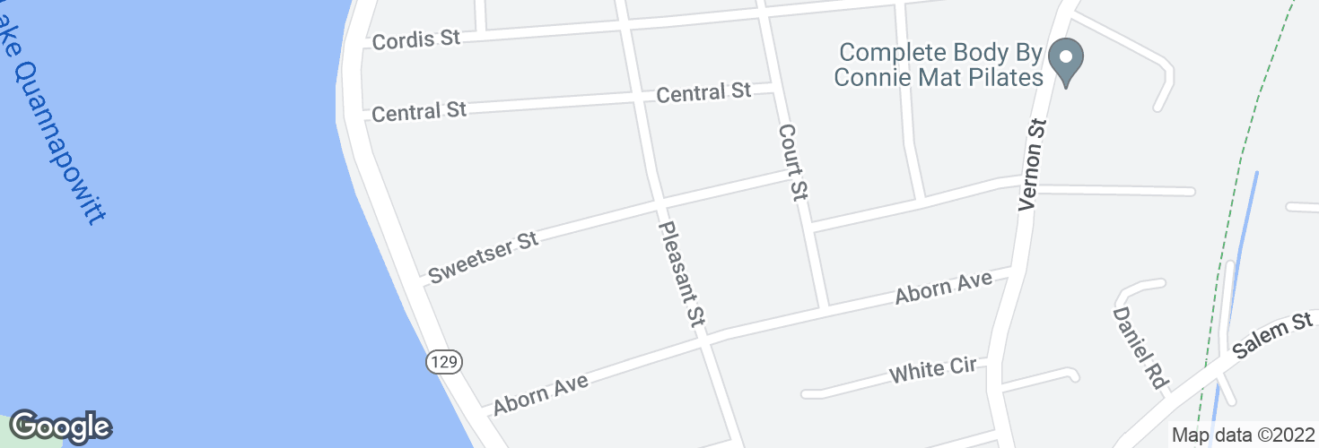 Map of Pleasant St @ Sweetser St and surrounding area