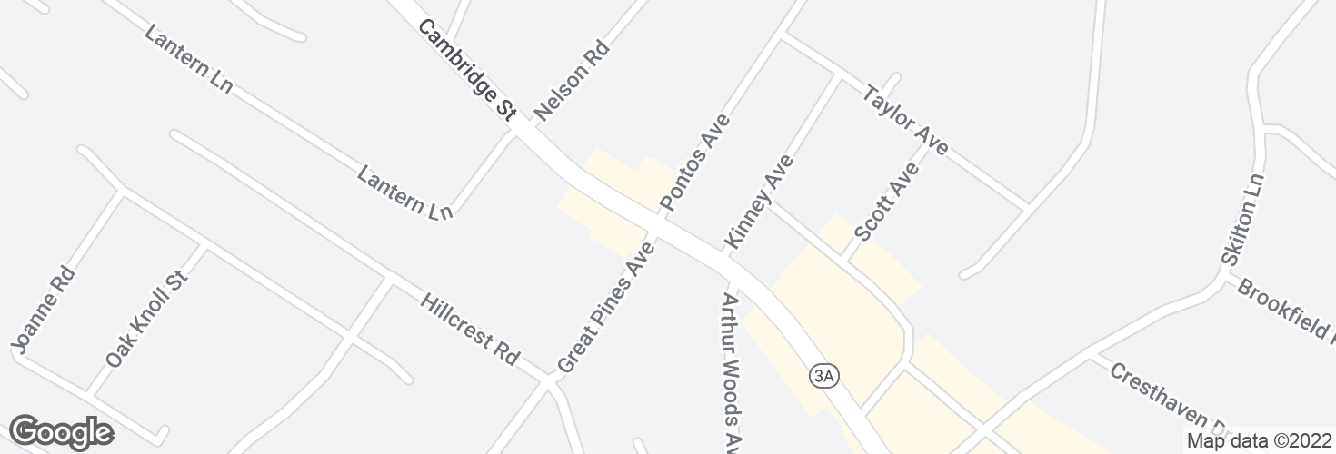 Map of Cambridge St @ Pontos Ave and surrounding area