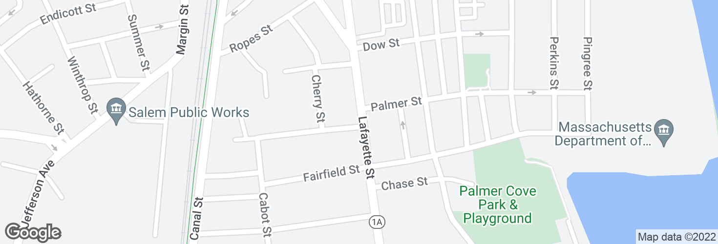 Map of Lafayette St @ Cedar St and surrounding area