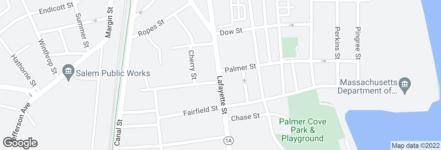 Map of Lafayette St @ Palmer St and surrounding area
